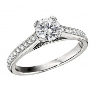 Engagement Ring featuring 20 Round Brilliant Diamonds with 0.16ctw in White Gold