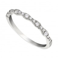 Wedding Band featuring 17 Round Brilliant Diamonds with 0.19ctw in White Gold