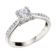 Engagement Ring featuring 38 Round Brilliant Diamonds with 0.21ctw in White Gold
