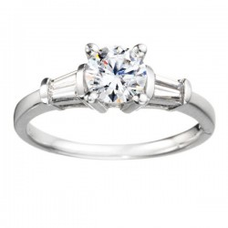 0.22ct Tapered Baguette Diamond Engagement Ring Designed to Fit 0.20ct Round Center