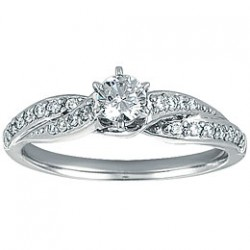 0.21ct Round Diamond Remount Ring in 14K White Gold