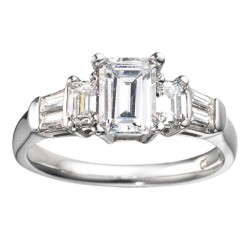 0.78 Emerald Cut and Tapered Baguette Diamond Engagement Ring