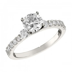 Engagement Ring featuring 12 Round Brilliant Diamonds with 0.47ctw in White Gold