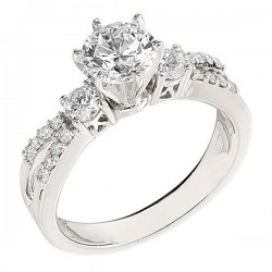 Engagement Ring featuring 18 Round Brilliant Diamonds with 0.60ctw in White Gold