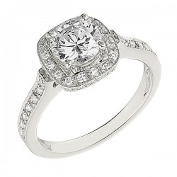 Engagement Ring featuring 50 Round Brilliant Diamonds with 0.43ctw in White Gold