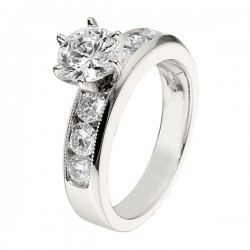 Engagement Ring featuring 6 Round Brilliant Diamonds with 0.81ctw in White Gold