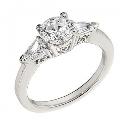 Engagement Ring featuring 2 Bullet Diamond with 0.32ctw in White Gold