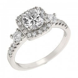 Engagement Ring featuring 26 Round Brilliant Diamonds with 0.47ctw in White Gold