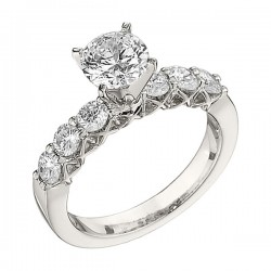 Engagement Ring featuring 6 Round Brilliant Diamonds with 0.75ctw in White Gold