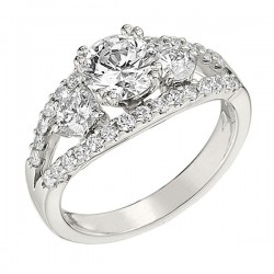 Engagement Ring featuring 32 Round Brilliant Diamonds with 0.94ctw in White Gold