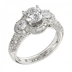 Engagement Ring featuring 112 Round Brilliant Diamonds with 1.20ctw in White Gold