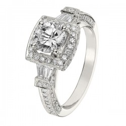 Engagement Ring featuring 108 Round Brilliant Diamonds with 0.57ctw in White Gold