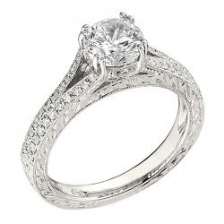 Engagement Ring featuring 50 Round Brilliant Diamonds with 0.29ctw in White Gold
