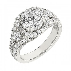 Engagement Ring featuring 80 Round Brilliant Diamonds with 1.27ctw in White Gold
