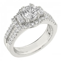 Engagement Ring featuring 40 Round Brilliant Diamonds with 0.52ctw in White Gold