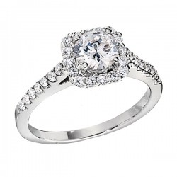 Engagement Ring featuring 42 Round Brilliant Diamonds with 0.51ctw in White Gold