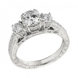 Engagement Ring featuring 26 Round Brilliant Diamonds with 0.27ctw in White Gold