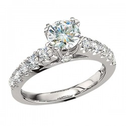 Engagement Ring featuring 12 Round Brilliant Diamonds with 0.75ctw in White Gold