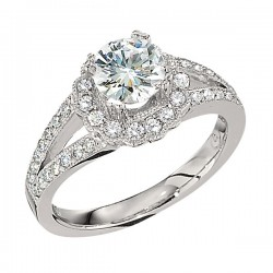 Engagement Ring featuring 42 Round Brilliant Diamonds with 0.39ctw in White Gold