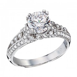 Engagement Ring featuring 72 Round Brilliant Diamonds with 0.47ctw in White Gold