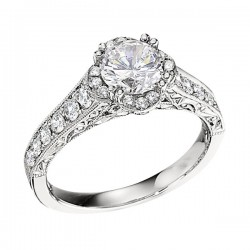 Engagement Ring featuring 24 Round Brilliant Diamonds with 0.42ctw in White Gold
