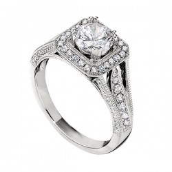 Engagement Ring featuring 38 Round Brilliant Diamonds with 0.36ctw in White Gold