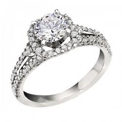 Engagement Ring featuring 70 Round Brilliant Diamonds with 0.50ctw in White Gold