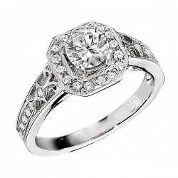 Engagement Ring featuring 28 Round Brilliant Diamonds with 0.20ctw in White Gold