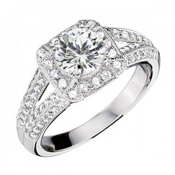 Engagement Ring featuring 80 Round Brilliant Diamonds with 0.49ctw in White Gold