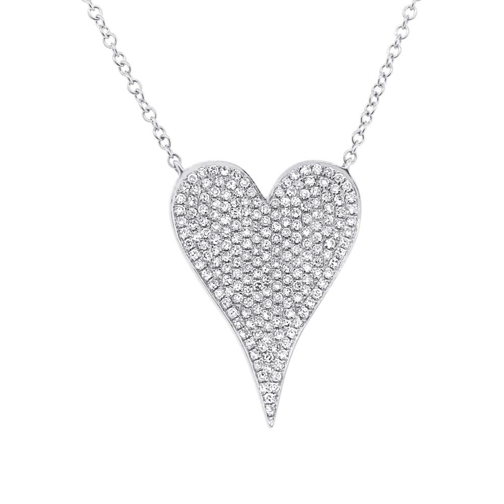 Shy Creation 0 43ct 14k White Gold Diamond Heart Necklace